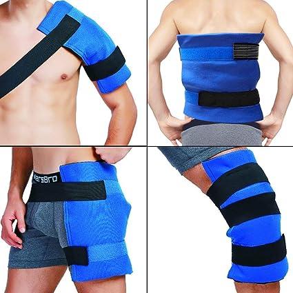 Paquete y envoltura de hielo en gel flexible grande terapia de frío - calor para cadera, hombro, codo, espalda, rodilla - Gran alivio para esguinces, ...