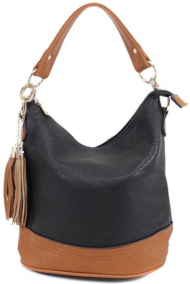67b88b68b4c8 Womens Bucket Designer Office Tote Handbag Ladies Work Bag New (Black 9660)   Amazon.co.uk  Shoes   Bags