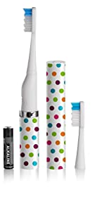 Slim Sonic Electric Toothbrush - # VSS151 Confetti by Violife for Unisex - 3 Pc Set Toothbrush, Additional Brush Head, AAA Battery