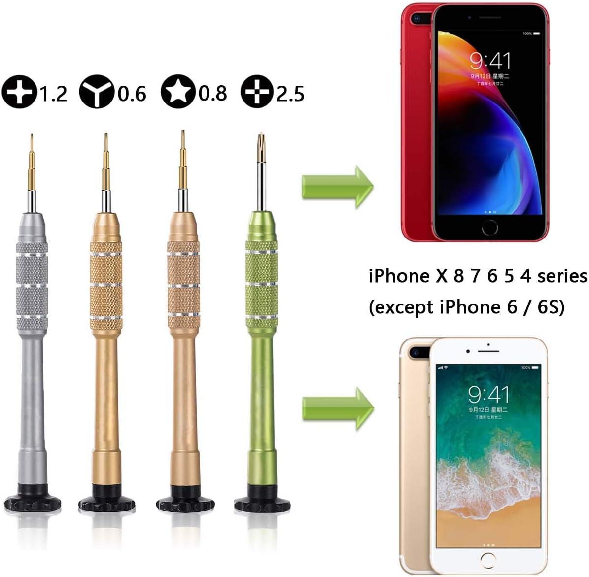 Set de iPhone de Destornillador de Herramientas de Reparar para iPhone Xr, X, 8, 8 Plus, 7, 7 Plus, 6, 6 Plus, 6S, 6S Plus, 5, 5S, 5C, 4, SE - Kit de ...