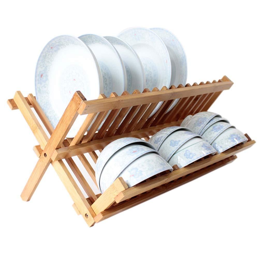TongN Bambusdoppelschicht-Zaun-Ableiter, Vollholz, das Brett-Küchen-Lagerregal abtropft