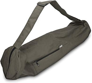 Navaris Yoga Mat Bag - Cotton Yoga Bag with Zipper Pocket and Closure 28.3 x 11.4 inches (72 x 29cm) Large Tote Bag