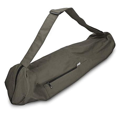 e366dc9a892bc Navaris Yogatasche für Yogamatte aus Baumwolle - Tasche für Yoga Matte mit  Reißverschluss Tragegurt - Große