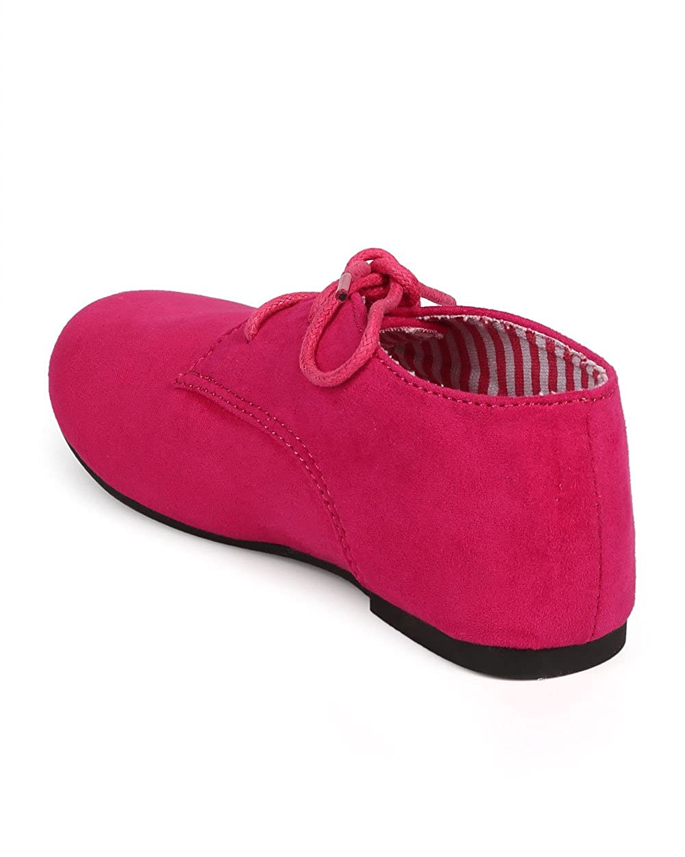 DG66 Size: Little Kid 1 Toddler//Little Girl//Big Girl Fuchsia Suede Round Toe Lace Up Classic Ankle Oxford Flat