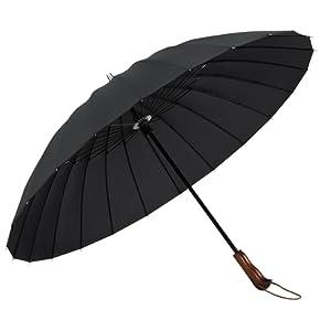 [Parapluie]Plemo Parapluie Canne avec 24 Baleines Incassable Anti Vent Anti Retournement Manche en Bois Anti-Glisse Tissu 210T Léger Noir