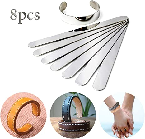 iSuperb 8pcs 1.5 Stainless Steel Inner Core Ring Shaping Mold DIY Leather Bracelet Stamping Blanks Free Bending Engraving Vegetable Tanned Customizing Jewelry Gifts