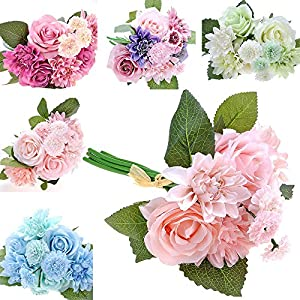 HuntGold Artificial Silk Flower Fake Rose Dahlia Chrysanthemum Bouquets Wedding/Party/Mother's Day/Christmas/Valentine's Day/Thanksgiving Day/New Year/Birthday Decor 29