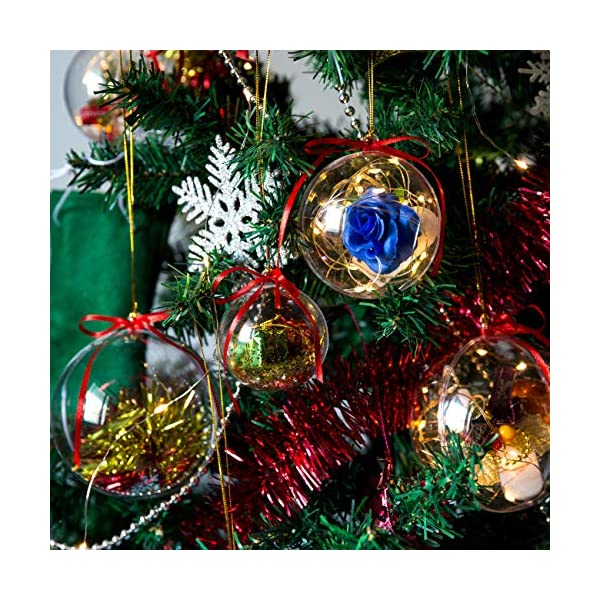 Gwhole Set di 15 Palline di Natale con 15 Corde d'oro e 15 Corde Rosse, 6cm 8cm 10cm Sfera Plastica Trasparenti Palla Palle da Natalizie Albero Apribili Decorative 2 spesavip