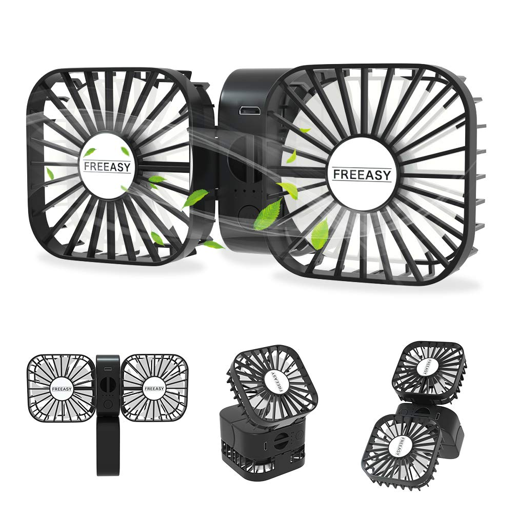 Portable Travel Mini Fan, USB Rechargeable Handheld Dual Fan, Flexible Small Desk Fan, 3 Speed Adjustable, 2000mAh Battery, 180 Degrees Free Rotation for Traveling, Camping, Home, Office – Black