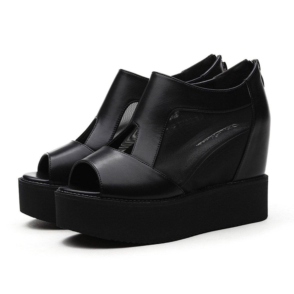 HWF Damenschuhe Fish Mouth Sandalen Dicker Boden hochhackigen Damenschuhe erhöht in Mesh einzelne Schuhe weiblich ( Farbe   Schwarz  größe   35 )
