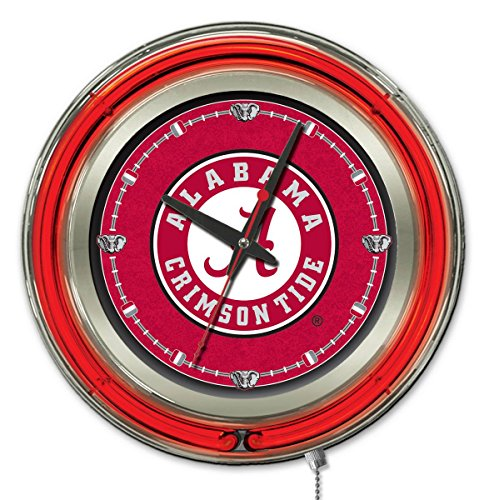 Holland Bar Stool Company NCAA Alabama Crimson Tide Double Neon Ring 15-Inch Diameter Logo Clock