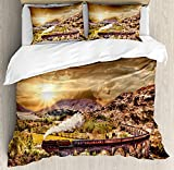 Duvet Cover Set Wizard Wizard School Express Famous Train Landscape Glenfinnan Railway Viaduct Scotland Sunset Ultra Soft Durable Twill Plush 4 Pcs Bedding Sets for Kids/Teens/Adults Twin Size