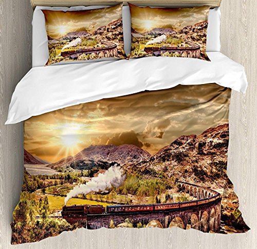(Girls Boys Twin Bed Sheet Sets, Wizard Duvet Cover Set, Wizard School Express Famous Train Landscape Glenfinnan Railway Viaduct Scotland Sunset, Include 1 Duvet Cover 1 Bed Sheet and 2 Pillow Cases)