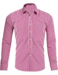 Xi Peng Men's Western Plaid Checkered Fitted Button up Long Sleeve Dress Shirts