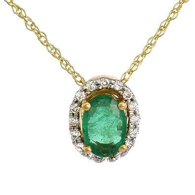 2e8a319821ab19 Amazon.com: Dainty 14k Yellow Gold Genuine Diamond Halo Emerald ...