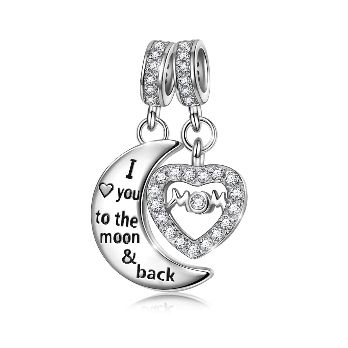 4eda82624 Amazon.com: NINAQUEEN I Love You to The Moon and Back 925 Sterling Silver  Dangle Charm Beads fit Pandöra Bracelet Necklace Jewelry Birthday  Anniversary ...