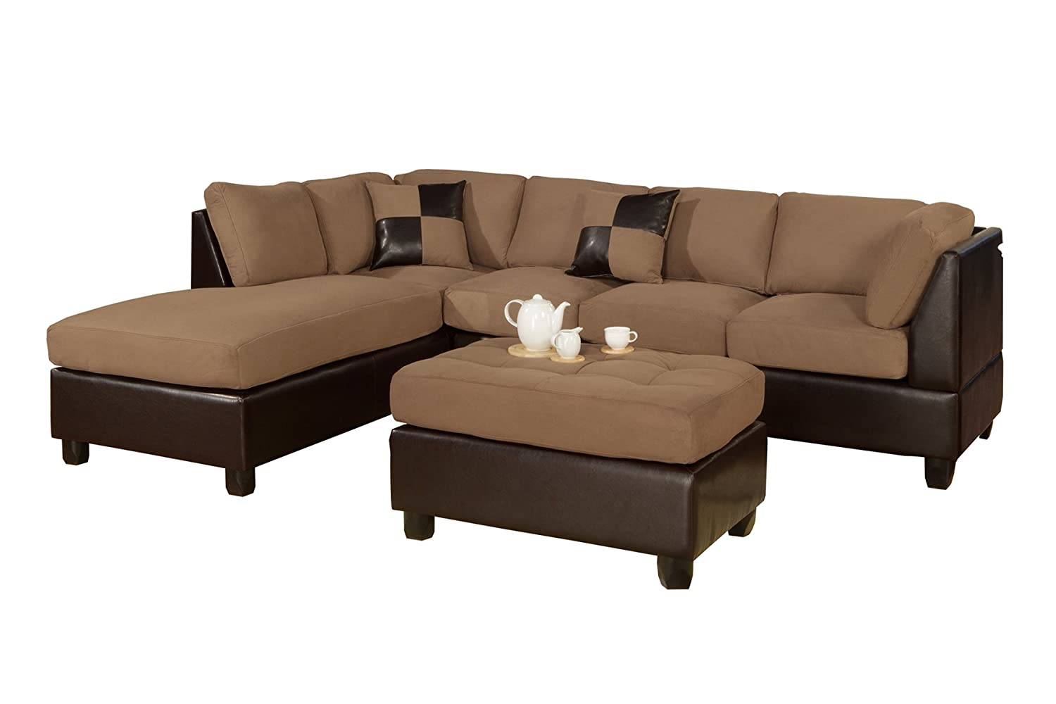 Amazon.com: Bobkona Hungtinton Microfiber/Faux Leather 3 Piece Sectional  Sofa Set, Saddle: Kitchen U0026 Dining Idea