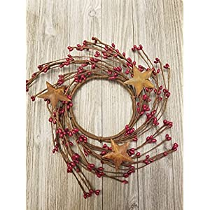 """MerdCraft Red Pips with Rusty Stars Candle Ring Country Primitive Floral Décor - Red Pips - Perfect Candle Ring for 3"""" Pillars 31"""