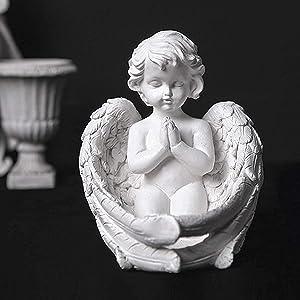OwMell Cherub Angel Statue Candle Holder, 6.1 inch Resin Angel Statue Figurine Indoor Outdoor Home Garden Decoration