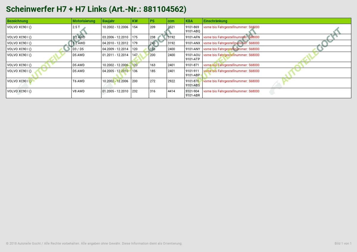 H7/Left B-Stock H7/