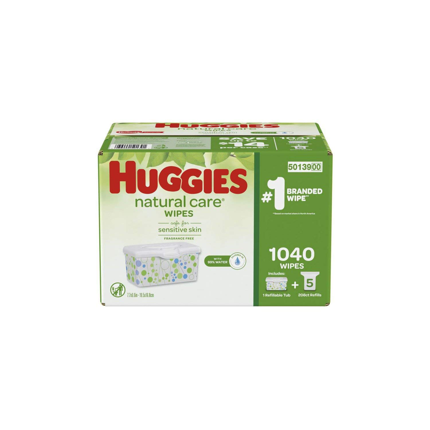 Huggies Natural Care Baby Wipe Refill, Fragrance Free (1,040 ct.) by Huggies (Image #1)