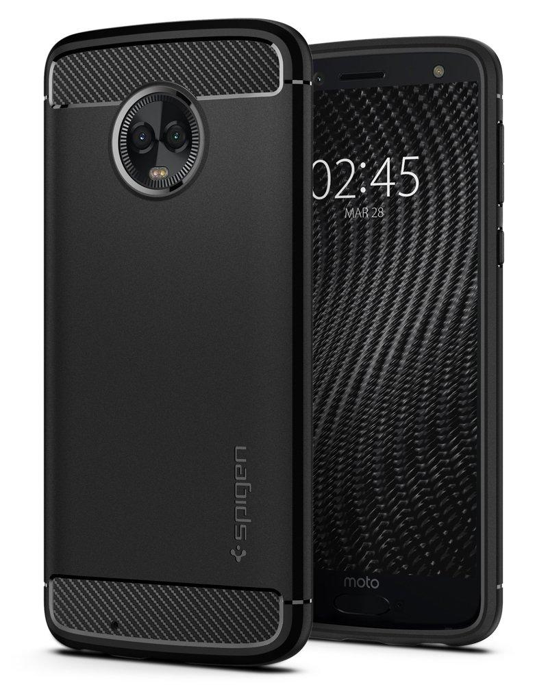Spigen Rugged Armor Moto G6 Case Flexible Durable Shock Absorption Carbon Fiber Design Motorola Moto G6 (2018) - Black
