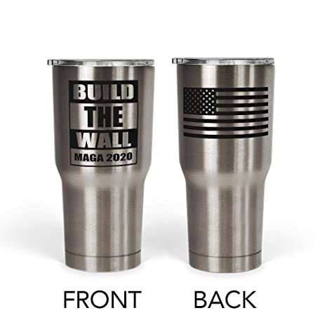 038e8bca1d6 We The People - President Donald Trump Build the Wall Mug - Stainless Steel  Travel Mug with American Flag - 30 oz Insulated Tumbler - Trump Gifts for  ...