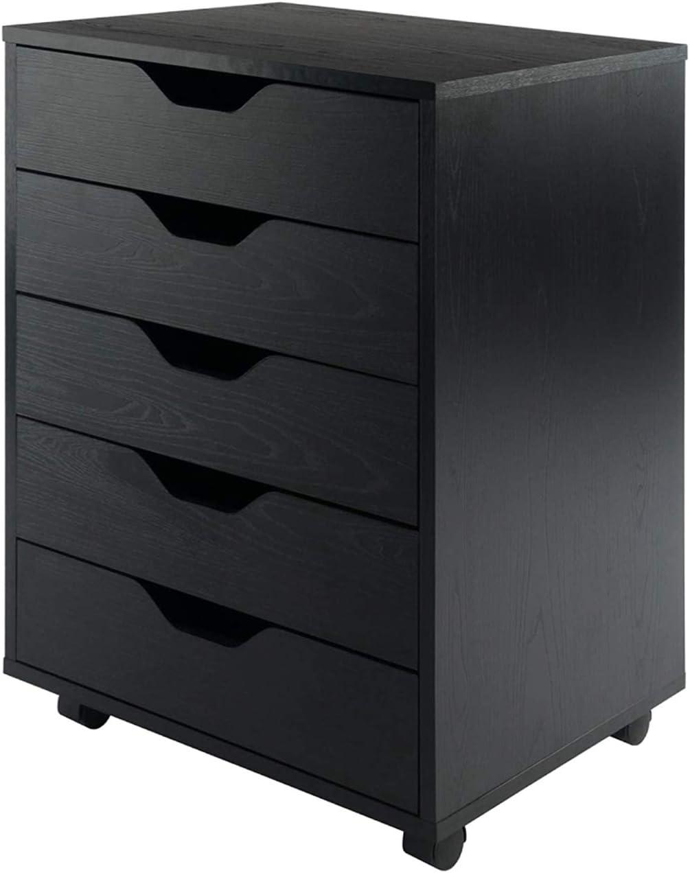 5-Drawer Wood Filing Cabinet, Mobile Storage Cabinet for Closet/Office Black Color Classic File Cabinets Storage Filing Cabinet for Home Office,Anti-tilt Structure