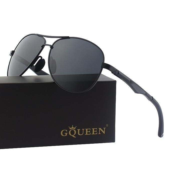 GQUEEN Premium Federscharnieren Al-Mg Pilotenbrille Polarisierte Sonnenbrille MOS1 CY9yQ