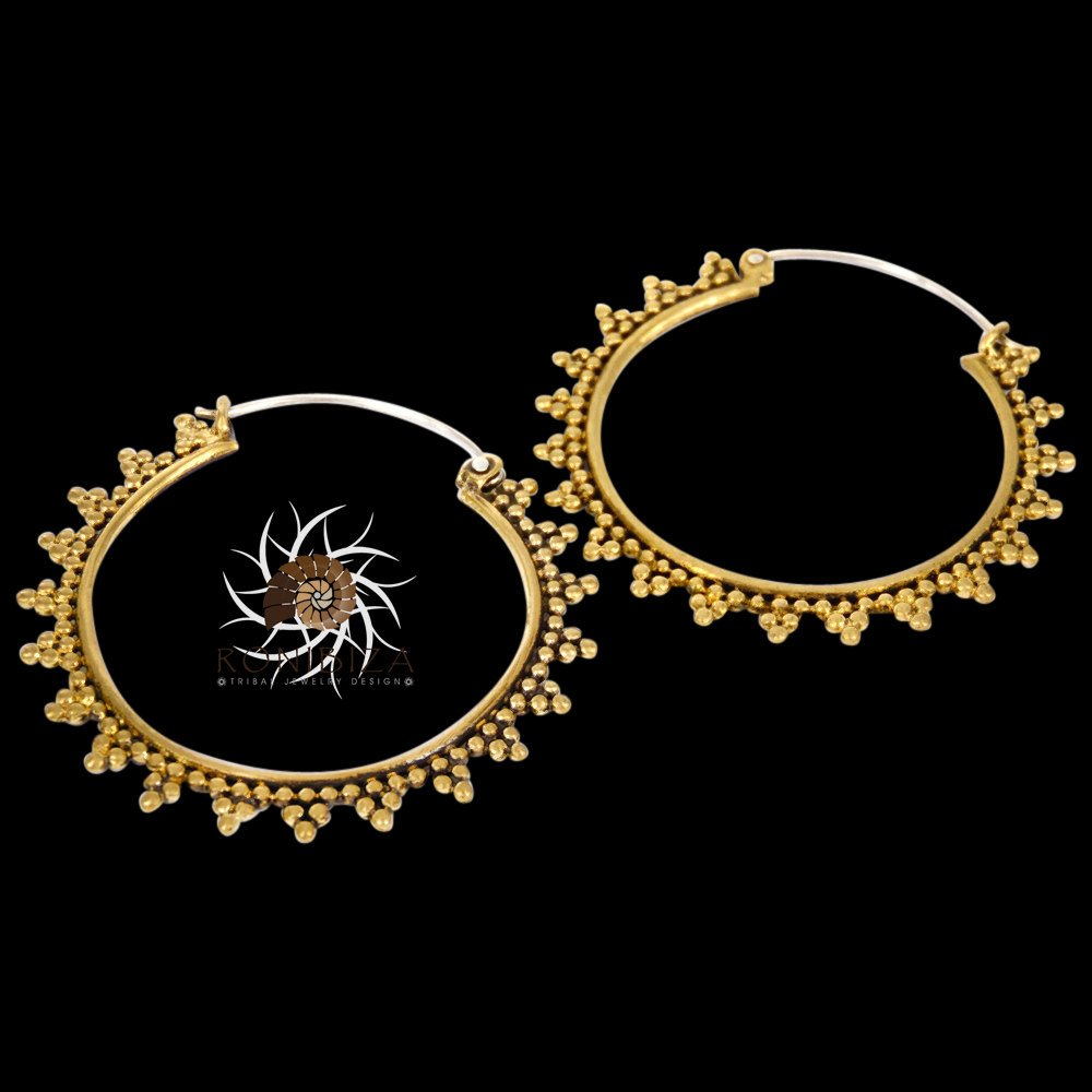 Brass Earrings - Brass hoops Earrings - Tribal Earrings - Gypsy Earrings - Ethnic Earrings - Brass Jewelry - Tribal Hoops - Ethnic Hoops