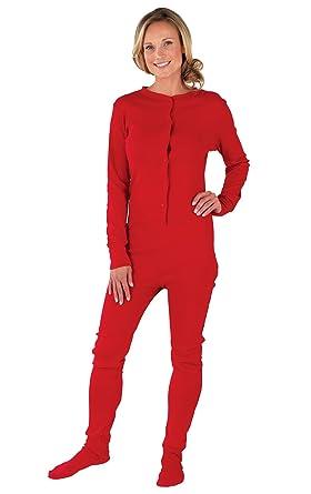 PajamaGram Women s Cotton Dropseat Footie Pajamas at Amazon Women s ... d7318a22c