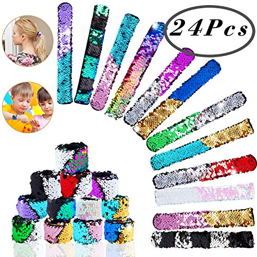 Hicdaw Mermaid Slap Bracelet Sequin, 24 Pcs Sequin Slap Bracelet 24 Color Flip Sequin Bracelet Mermaid Sequin Bracelets Reversible Mermaid Bracelet Wristband Charm Slap Bracelet for Birthday Gifts by Hicdaw