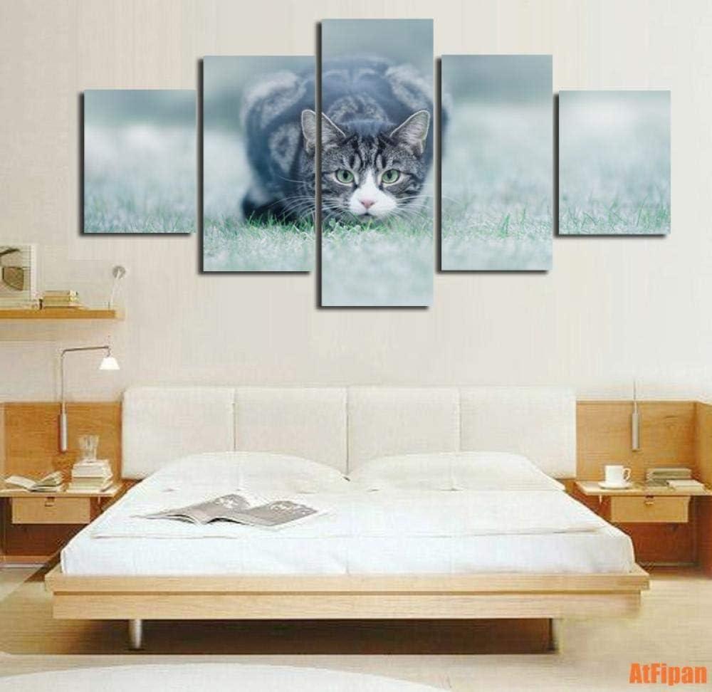 5 Paneles Lienzo Arte de la Pared Gato Animal Mascota Listo para Cazar Pinturas para Sala de Estar Impresiones modulares Marco de póster
