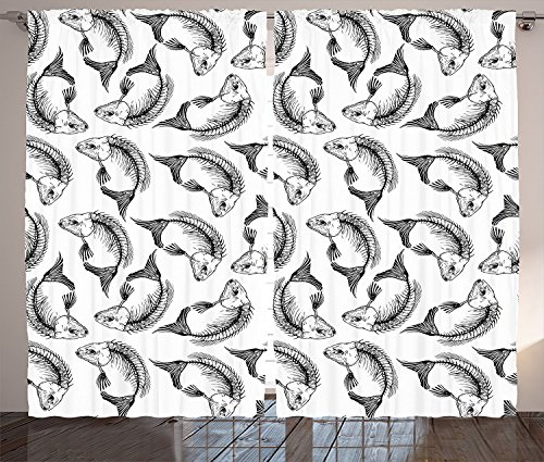 Skull Decorations Curtains Dead Themed Fish Bones Pattern Marine Creatures Fin Gills Sketchy Print Living Room Bedroom Window Drapes 2 Panel Set Black White 120x66