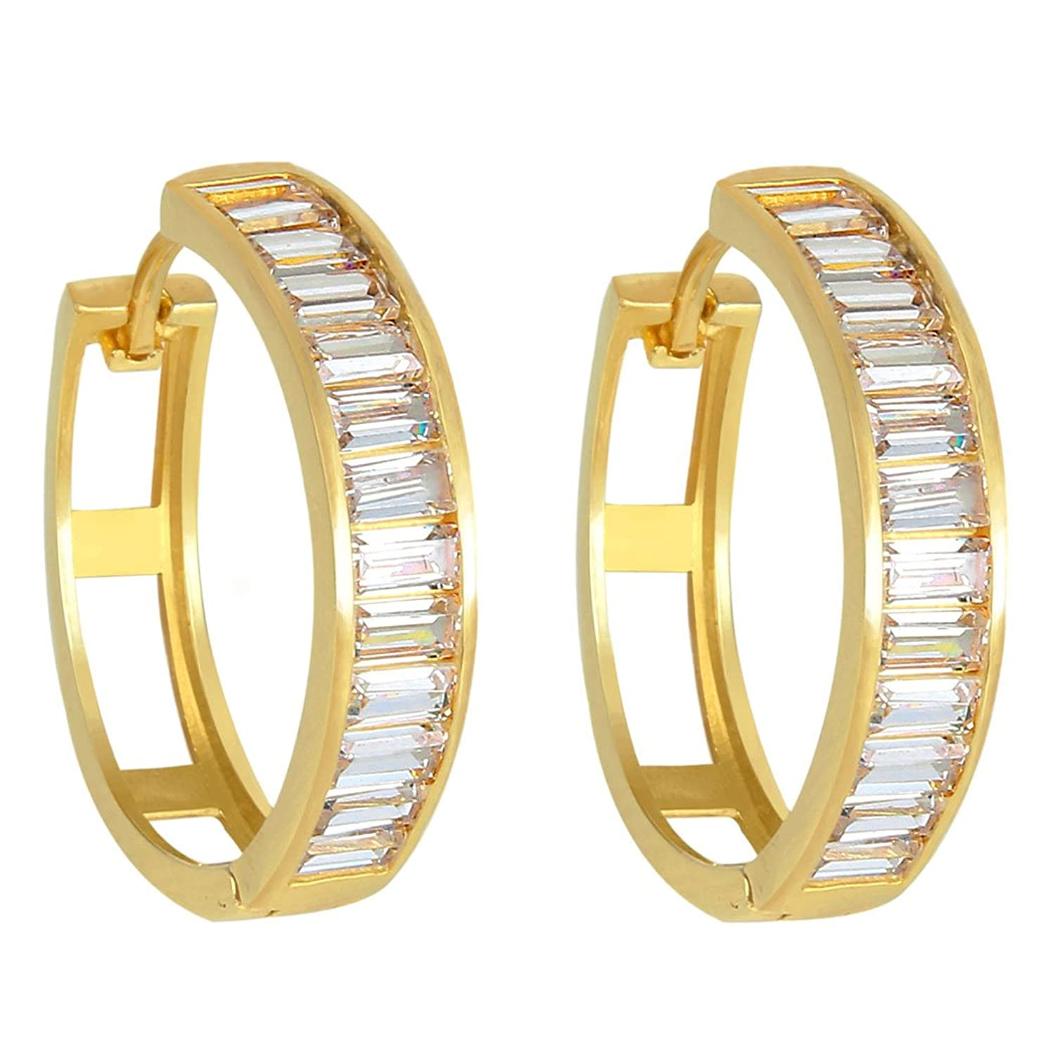 EVER FAITH 925 Sterling Silver CZ Channel Setting Baguette Gold-Tone Huggie Hoop Earrings Clear