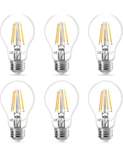 LE E27 LED Filament Lampe, 4W 400 Lumen Classic Lampe Birnen in Kolbenform, 2700 Kelvin Warmweiß, ersetzt 40 Watt, Filamentstil Klar, 6er Pack