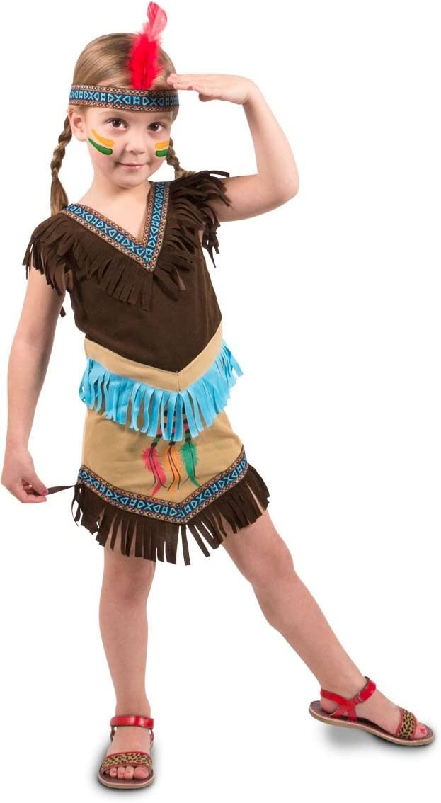 Folat - Vestido de Indios de 2 Piezas para Chicas - Marrón - 6-8 años - Talla: M