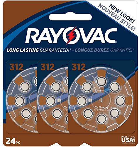 Rayovac Mercury Free Hearing Aid Batteries, Size 312, 24-Pack (L312ZA-24ZM)