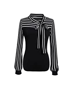 Women Ladies Printing Tie Striped Spring Summer Sexy Polyester Tie-Bow Neck Striped Simple Long Sleeve Club Party T-Shirt Lace Casual Loose Leisure Tank Blouse Top Coat Jacket Tee (L, Black)