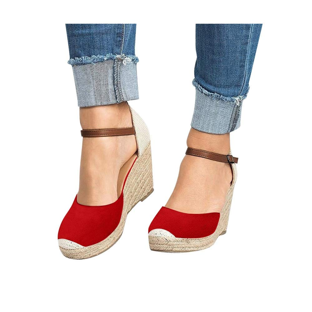 Women Wedge Sandals, Women's Peep Toe Ankle Strap Buckle Espadrille Summer Flatform Shoes (US:8.0, Red) by sweetnice Women Shoes