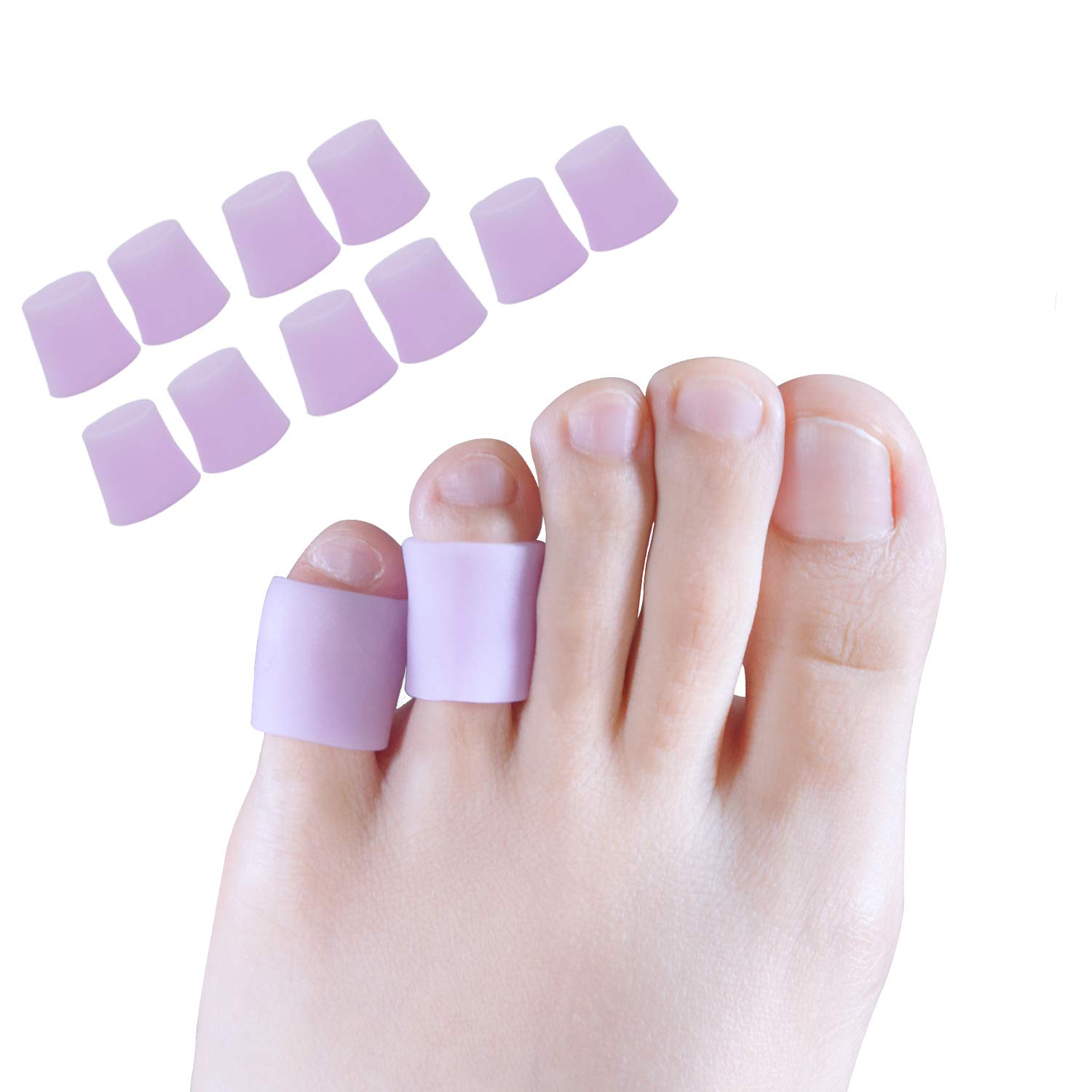 Toe Protectors, Toe Sleeves Silicone Small Gel Corn Protectors for Runners,Blisters,Shoes,Heels,Sandal Purple Pinky Toe Pain Relief 5 Pairs