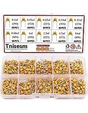 Tnisesm 600 Pcs 10Value Ceramic Capacitor Assortment Kit 0.1uf-10uf DIP Monolithic Multilayer Chip Capacitors in a Box Tn-19-2