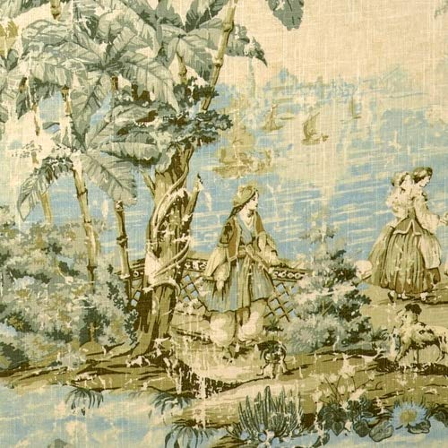 Green Toile Shower Curtain - Close to Custom Linens Shower Curtain Bosporus Flax Toile Blue Linen 84