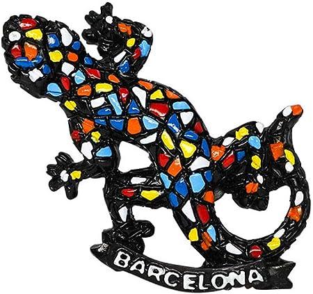 zamonji Lagartija Gecko Estilo Mosaico Barcelona España 3D Imanes para Refrigerador Imán de Nevera Viaje Souvenir Decoración del Hogar: Amazon.es: Hogar