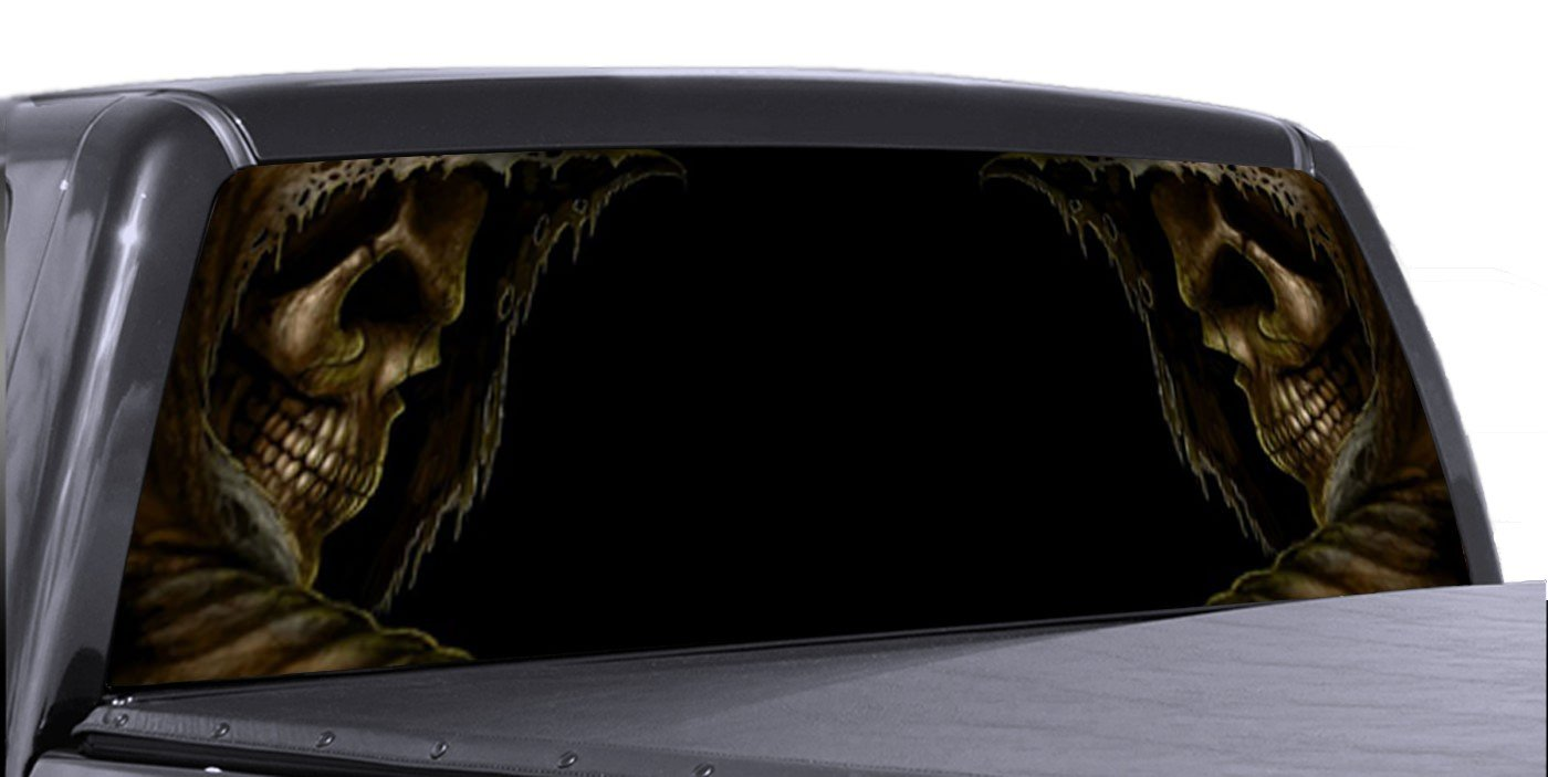 Amazon com vuscapes 779 szd grim reaper both sides rear window truck graphic decal suv view thru vinyl automotive