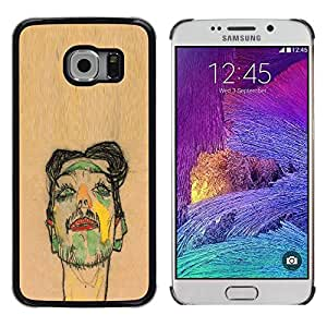 LECELL--Funda protectora / Cubierta / Piel For Samsung Galaxy S6 EDGE SM-G925 -- Artist Painting Sketch Portrait Brown --