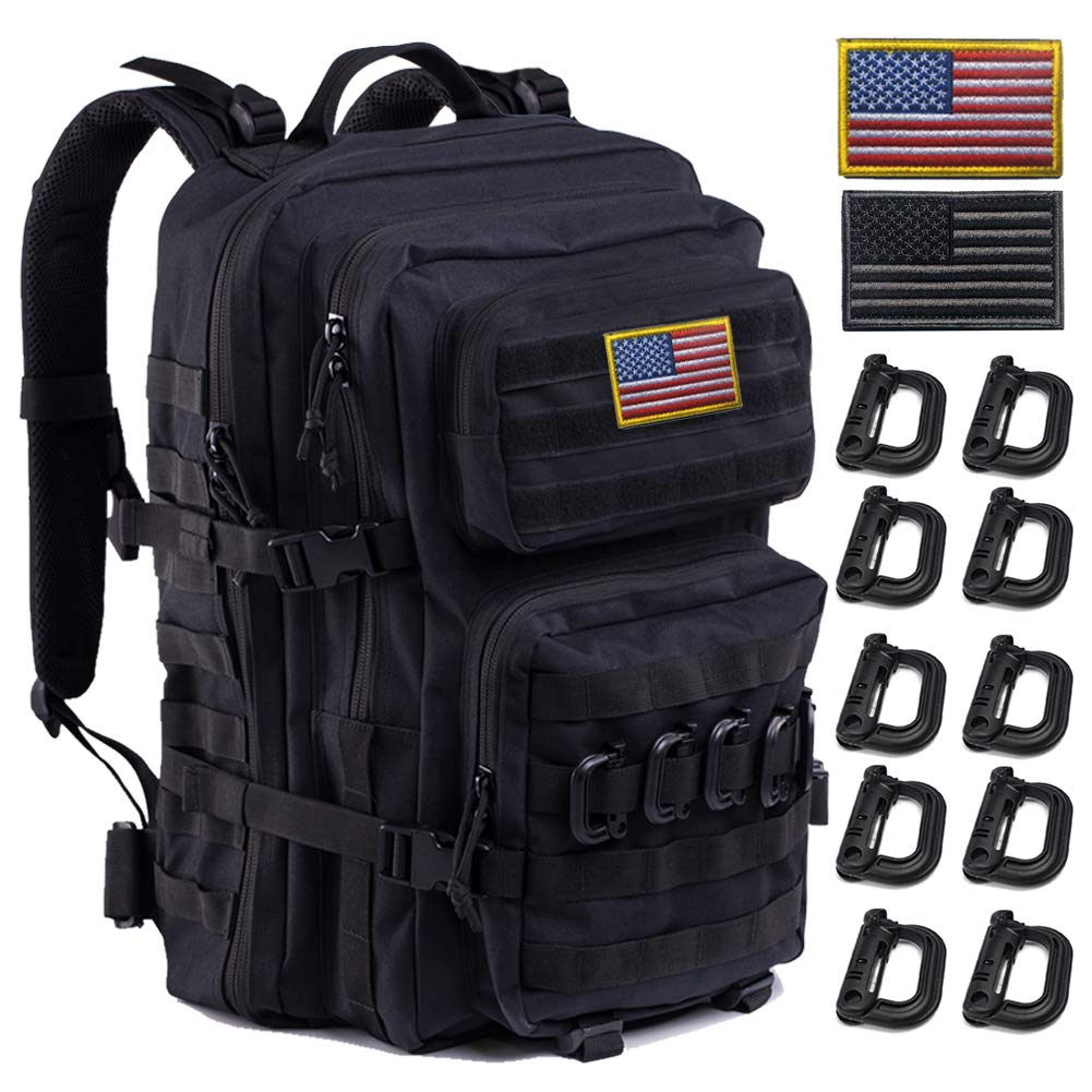 Upgrade Tactical Backpack Waterproof, Military Molle Backpack, Army Backpack, 3 Day Assault Pack Molle Bug Out Bag, Large Assault, Ideal for Hiking, Camping, Trekking, Outdoor and Hunting. (Black-01) by R.SASR