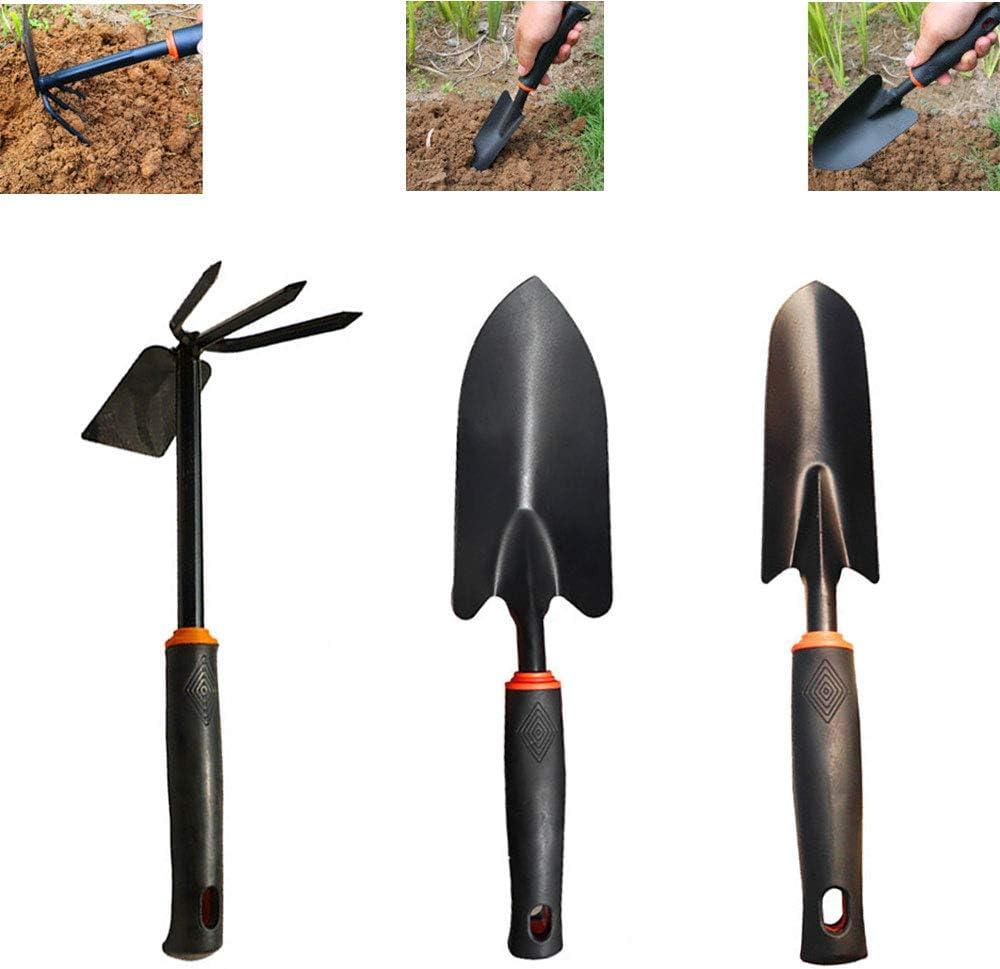 Zapoo 3 Pieces Garden Tools Set, Flower Gardening Tools Shovel,Including Trowel Transplanter Weeder Hand Fork Cultivator, Planting Tool
