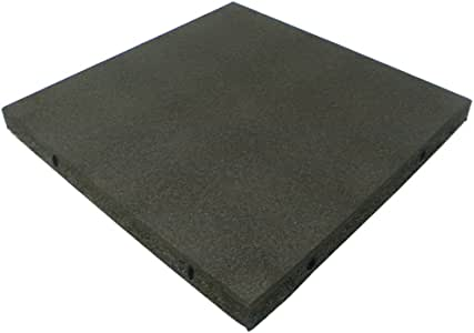 """Rubber-Cal """"Eco-Safety Interlocking Playground Tiles - 2.50 x 19.5 x 19.5 inch - 4 Pack - 11 Square Feet Coverage - Black (04-126-CO-4pk)"""