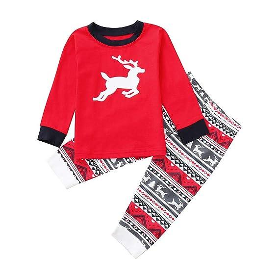 K-youth Conjunto de Pijamas Ropa Familiar Navidad Elk Impresión Camisetas Manga Larga Blusa Tops